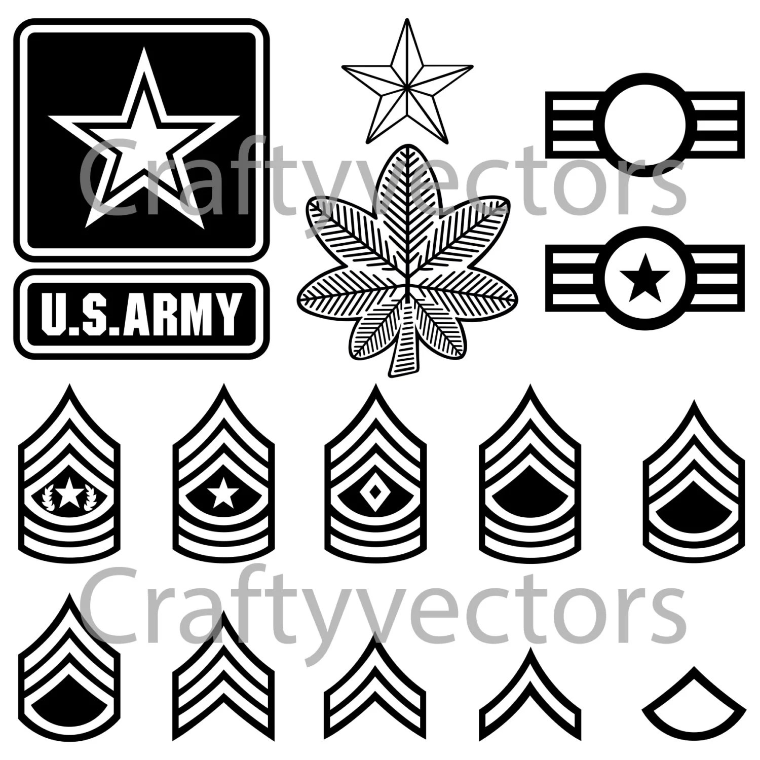 Us Army Badges And Stripes Vector File Svg