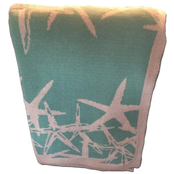 Aqua and cream starfish cotton throw