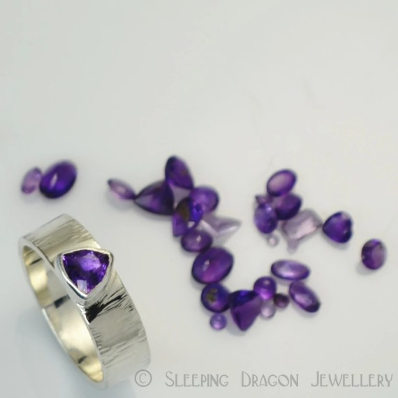 Amethyst Trillion ring size N