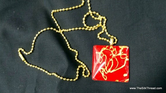 "Gold horse galloping on red silk, Necklace, silk jewelry, Hand painted silk art by artist, 2"" square pendant, free organza gift bag,"