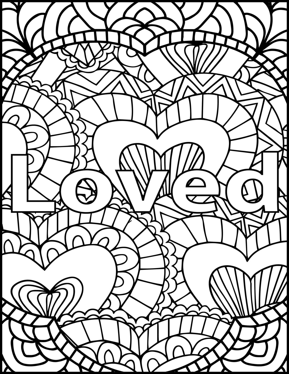 I Am Loved Adult Coloring Page Inspiring Message Coloring | free printable coloring pages for adults