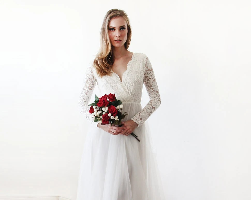 Ivory Tulle And Lace Long Sleeves Wedding Gown Tulle And Lace