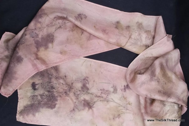 "Pale purple Silk Scarf, eco-printed with rose, pine & eucalyptus leaves by artist, all natural, sustainable, renewable fashion art, 8"" x 72"""