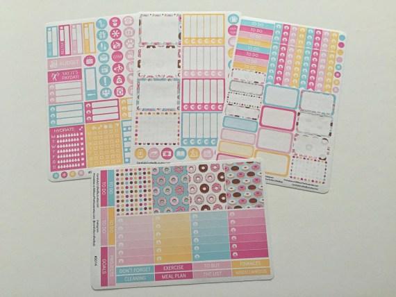Doughnut Erin Condren Vertical 4 Sheet Weekly Kit - Planner Stickers, Planner Decorations, Erin Condren