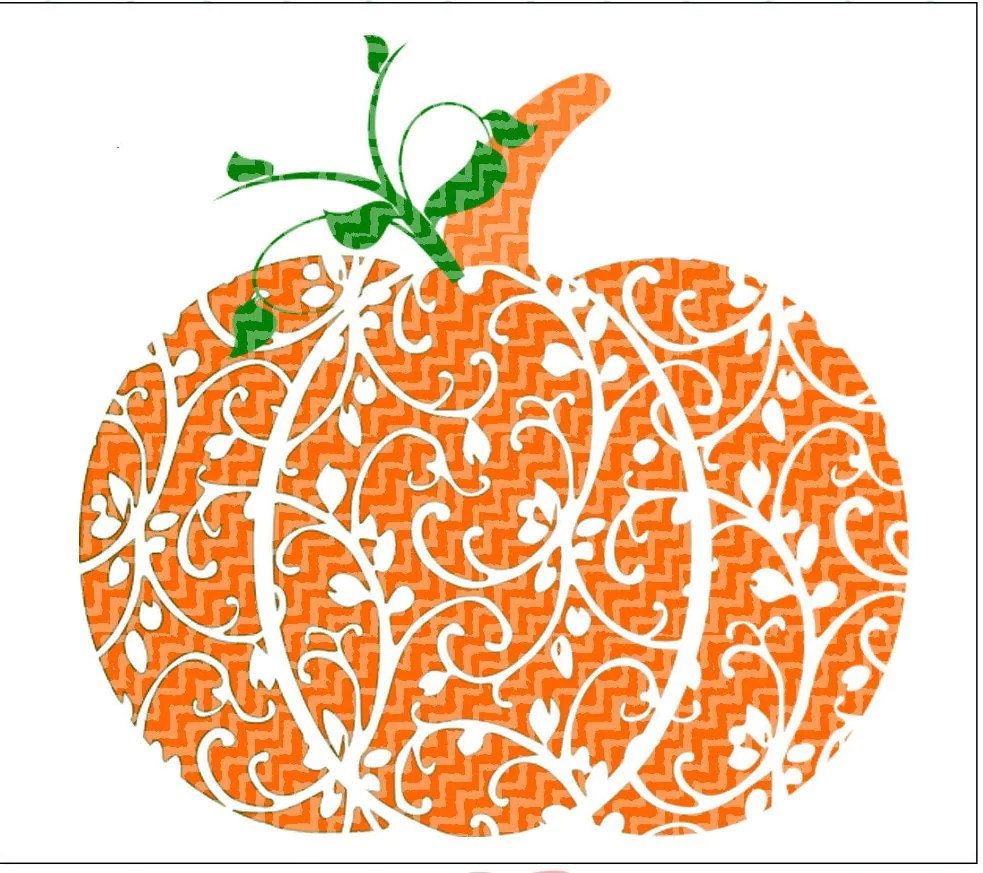 Download Fall Pumpkin SVG, DXF, EPS cutting files. Floral pattern ...