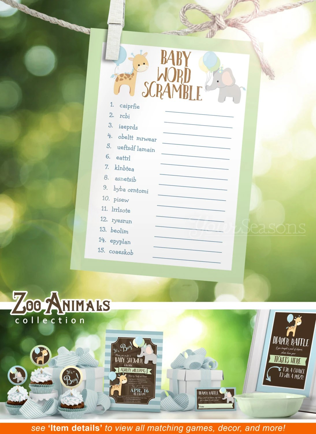 Baby Word Scramble Baby Shower Game Zoo Animals Printable
