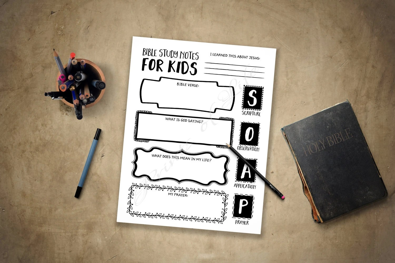 Bible Study Notes For Kids Printable Soap Boys Girls