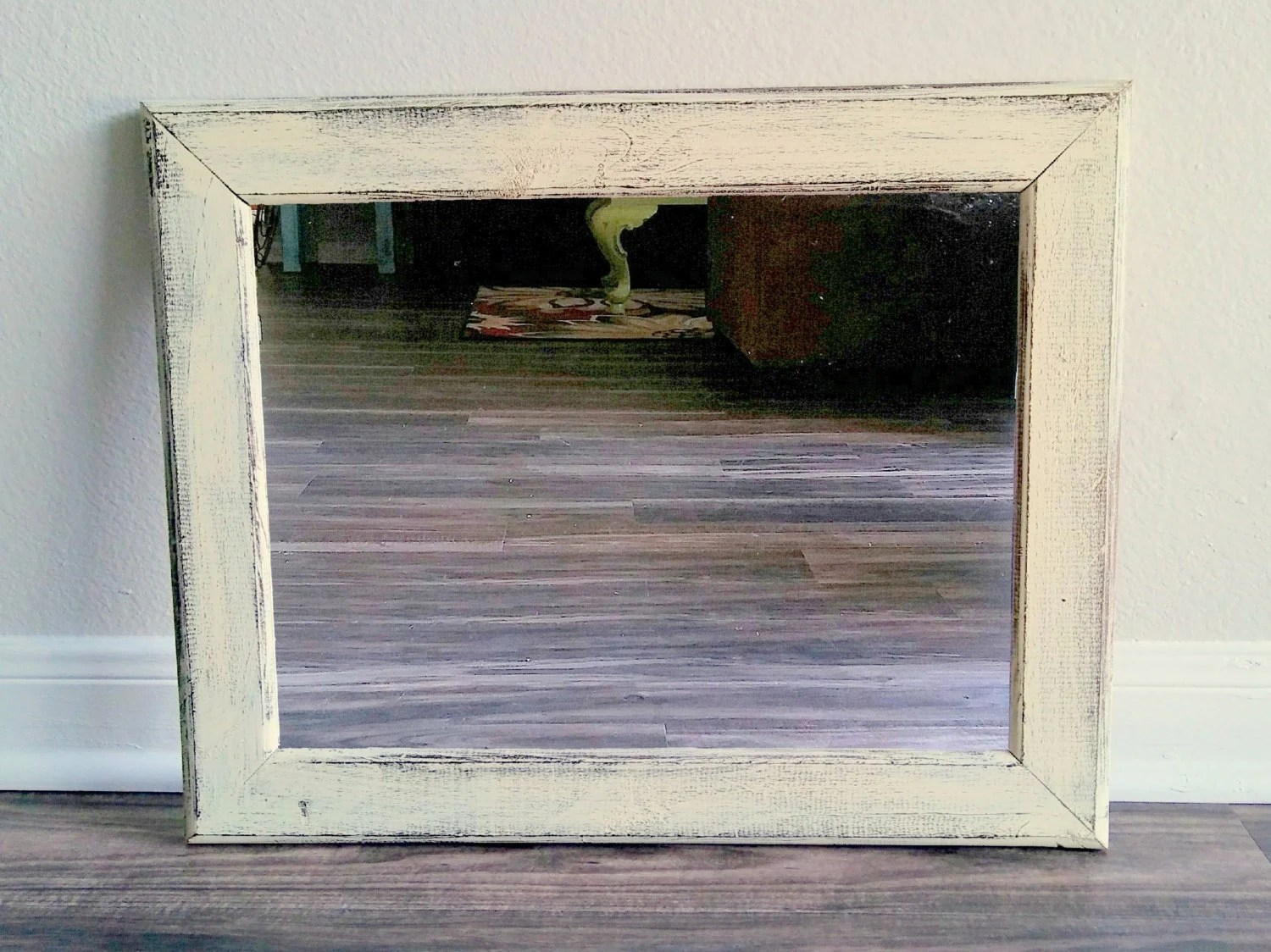 Distressed Mirror Rustic Wall Mirror Beach Mirror Off White