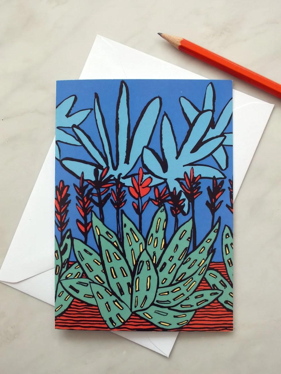 Botanical card. Aloe and ...