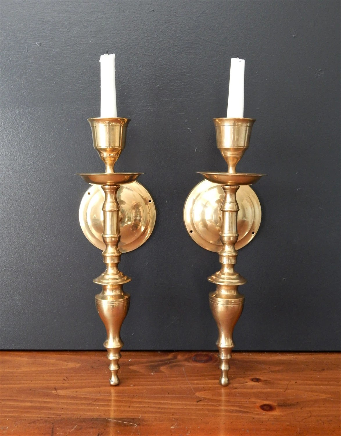 Large vintage brass candle sconces/Candle by ... on Large Wall Sconces Candle Holders Decorative id=23322