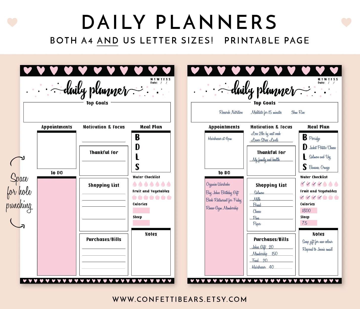 Daily Planner Goal Setting Printable Planner Planner