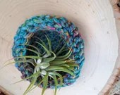 Bird of Paradise Decorative Bowl - hand dyed, hand spun crocheted catch-all bowl in vivid colors