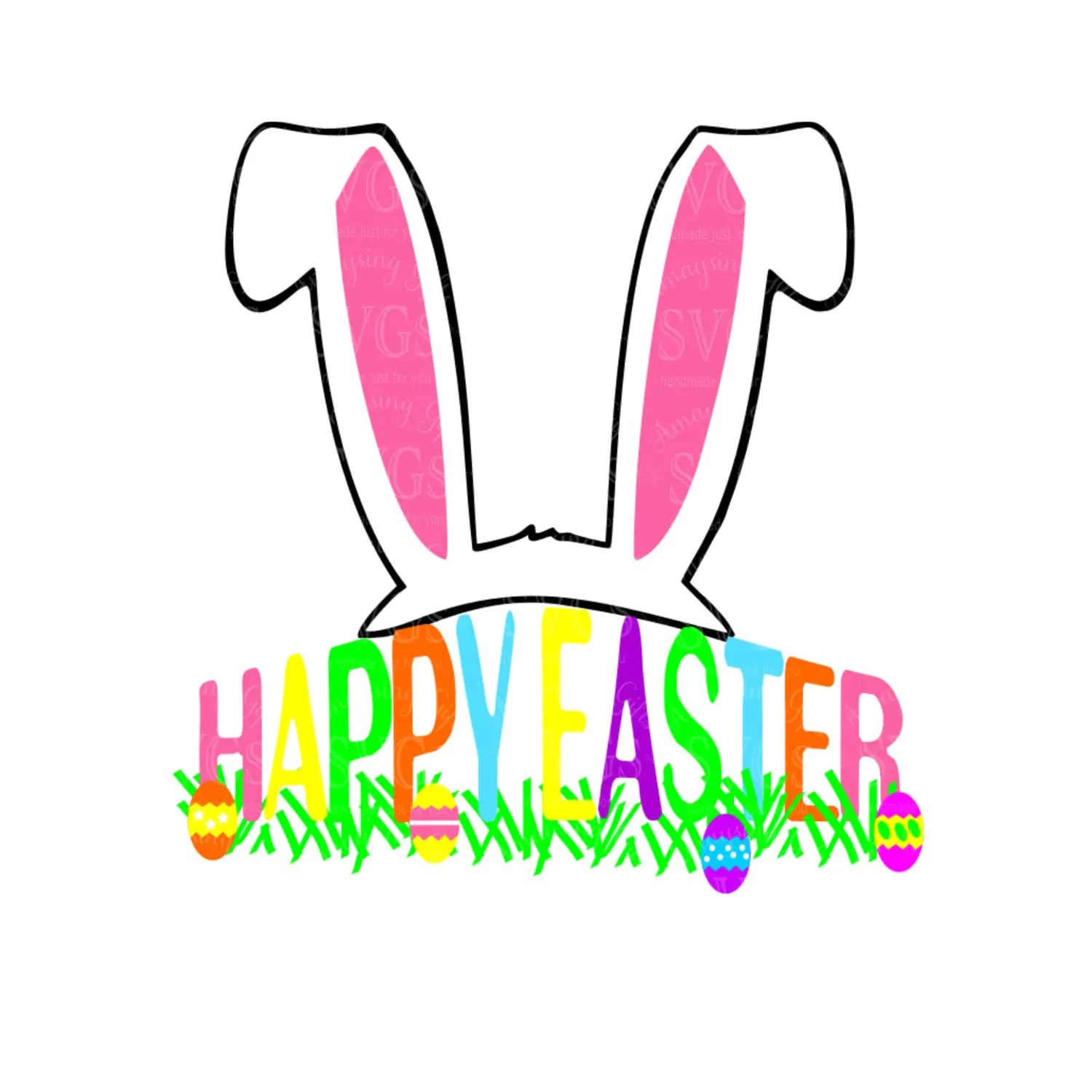 Svg Rabbit Ears Happy Easter Dxf Easter Spring