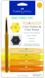 Faber-Castell Design Memory Craft Gelatos Color & Clear Stamp Set, Acid-Free Pigment Sticks for Mixed Media Stamping, YELLOW
