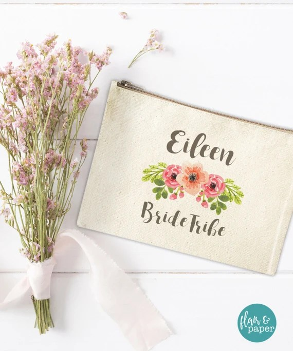 Canvas Makeup Bag - Floral Make Up Pouch - Bride Tribe - Personalized Canvas pouch - Cosmetic pouch - Cosmetic Bag - Bride Tribe Canvas Bag
