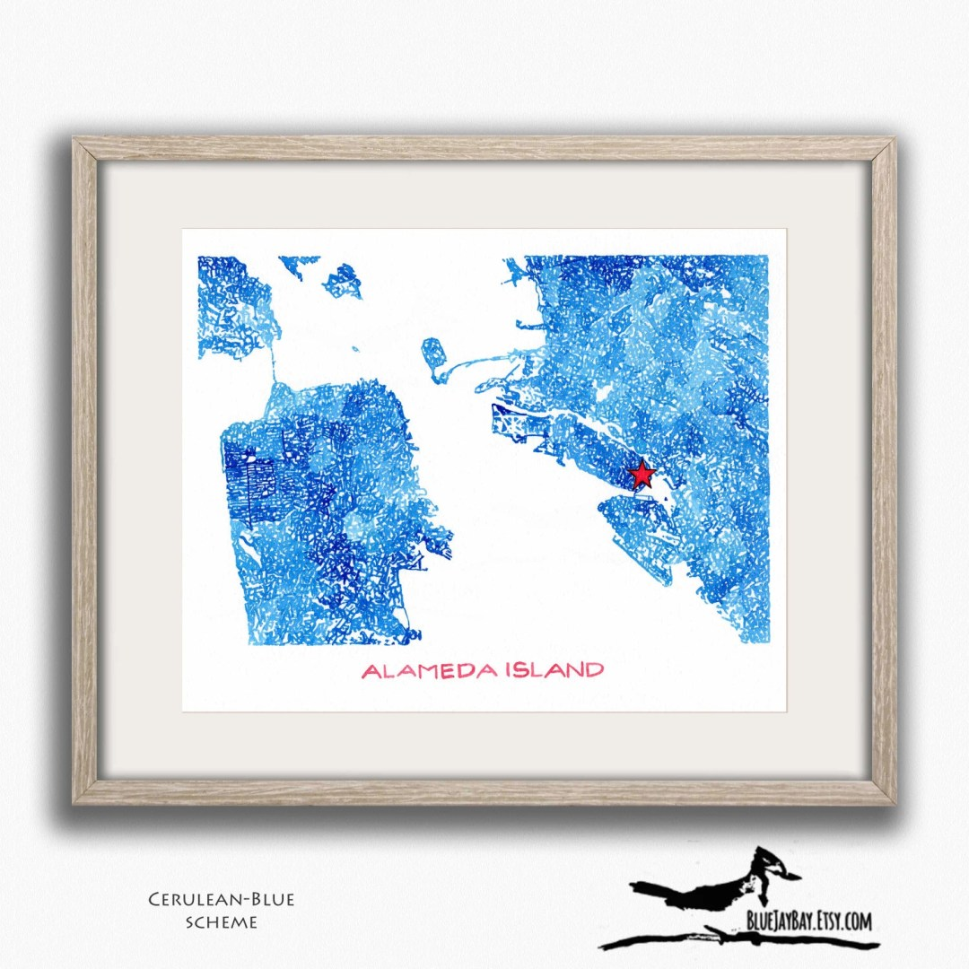 Alameda Oakland San Francisco Personalized Map Art - California Home Decor - California Wedding Map - California Love Wall Art Gift for Her