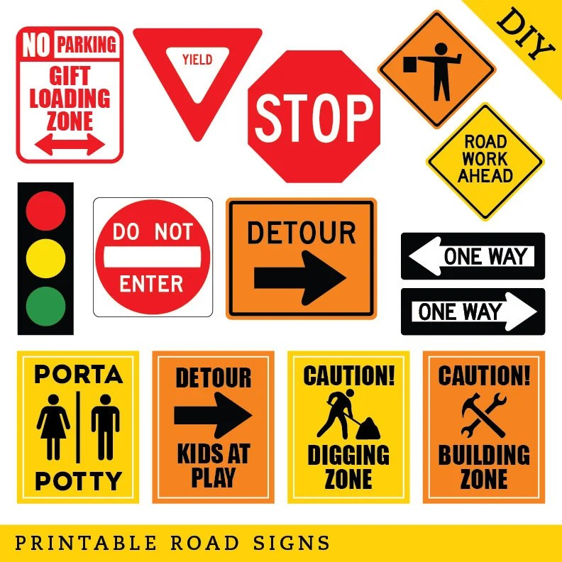 INSTANT DOWNLOAD Construction Party Road Signs DIY Printable