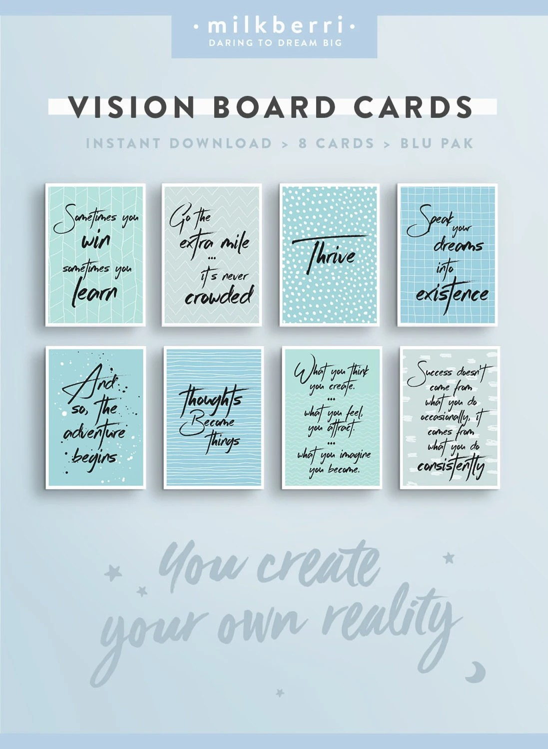 Vision Board Quote Cards 1 Quote Print Vision Board Kit
