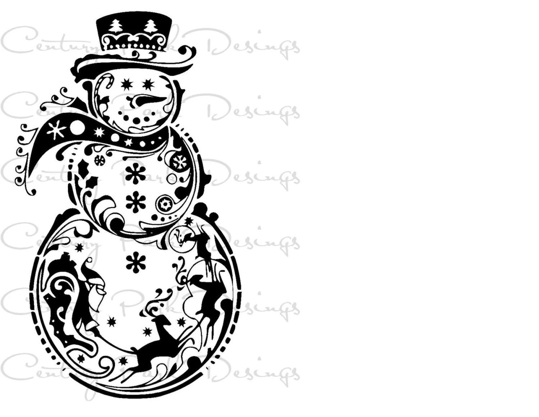 Snowman With Santa Amp Reindeer Svg