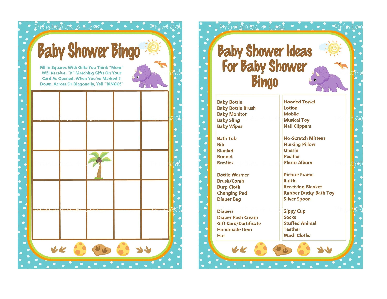 Dinosaur Bingo Game Card Printable Dinosaur Baby Shower Bingo
