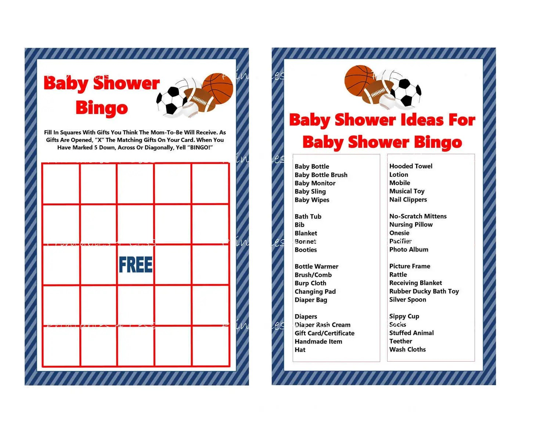 Sports Bingo Game Printable Sports Baby Shower Bingo Game