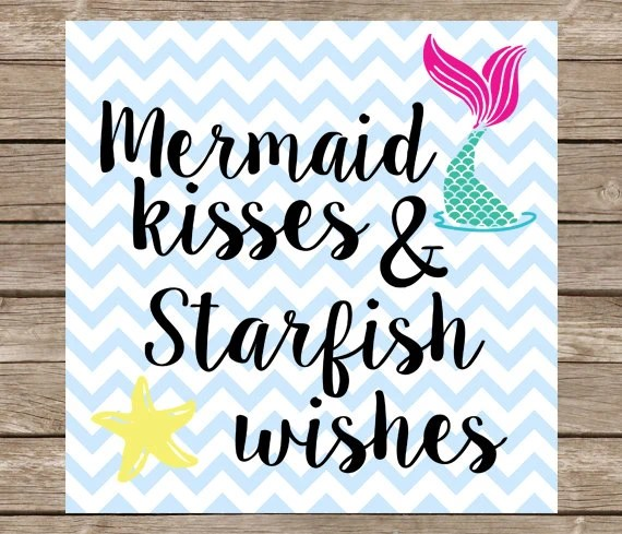 Mermaid Kisses And Starfish Wishes SVG Little Mermaid Cutting