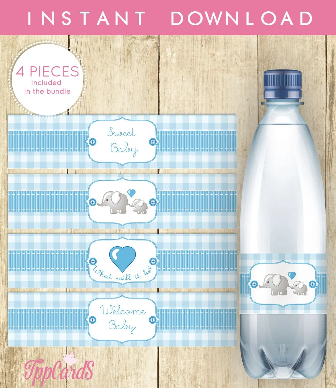Water Bottle Labels For Baby Shower Blue White Gingham Grey