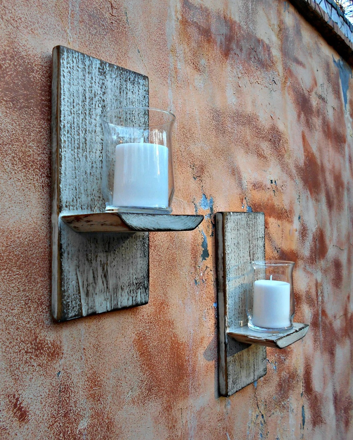 Wood Wall Sconce Rustic Candle Sconce Set of 2 Reclaimed on Wood Wall Sconces id=21549