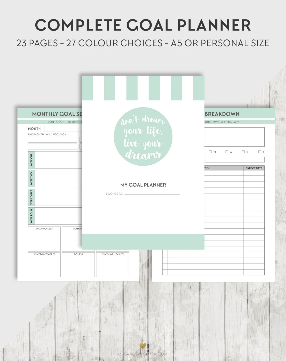 Printable Goal A5 Personal Planner Printable Inserts