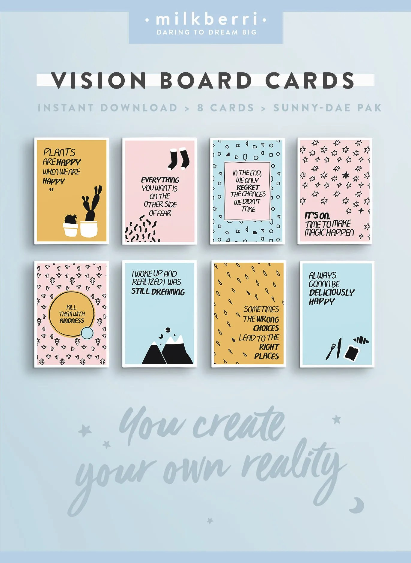 Vision Board Quote Cards 7 Quote Print Vision Board Kit