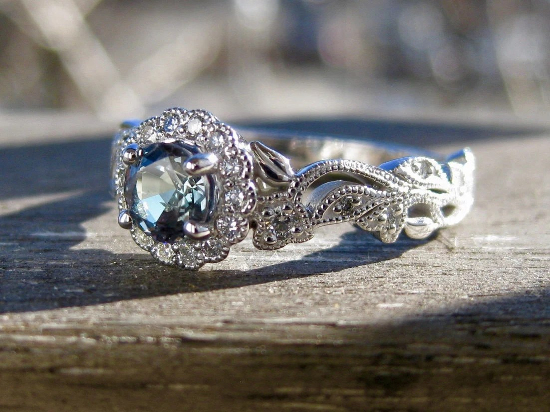 Natural Alexandrite Engagement Ring In 14K White Gold With