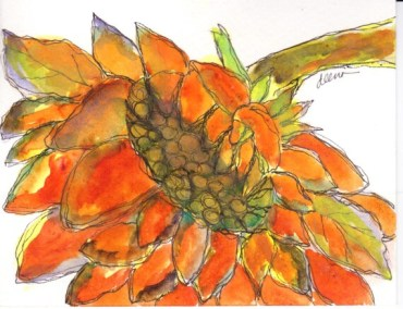 SUNFLOWER Watercolor greeting card #853