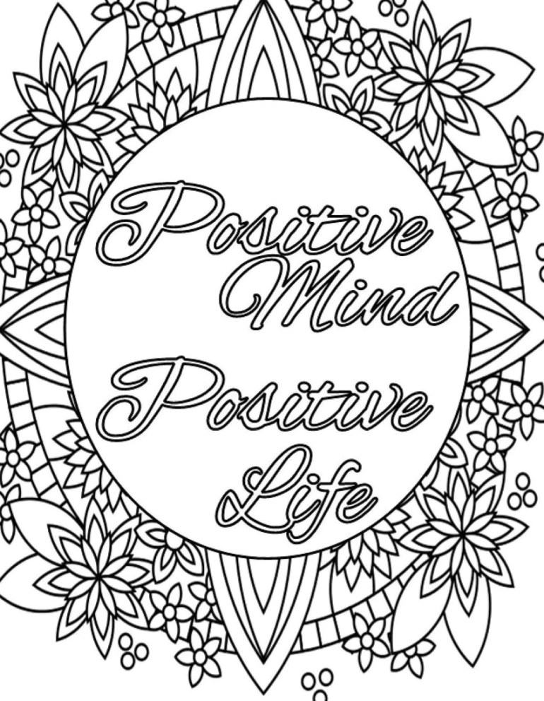 Inspirational Quote Coloring Page to Print and Color Adult | free printable inspirational coloring pages