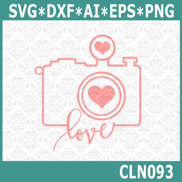 Download CLN093 Camera Outline Heart Love Photographer Photography SVG