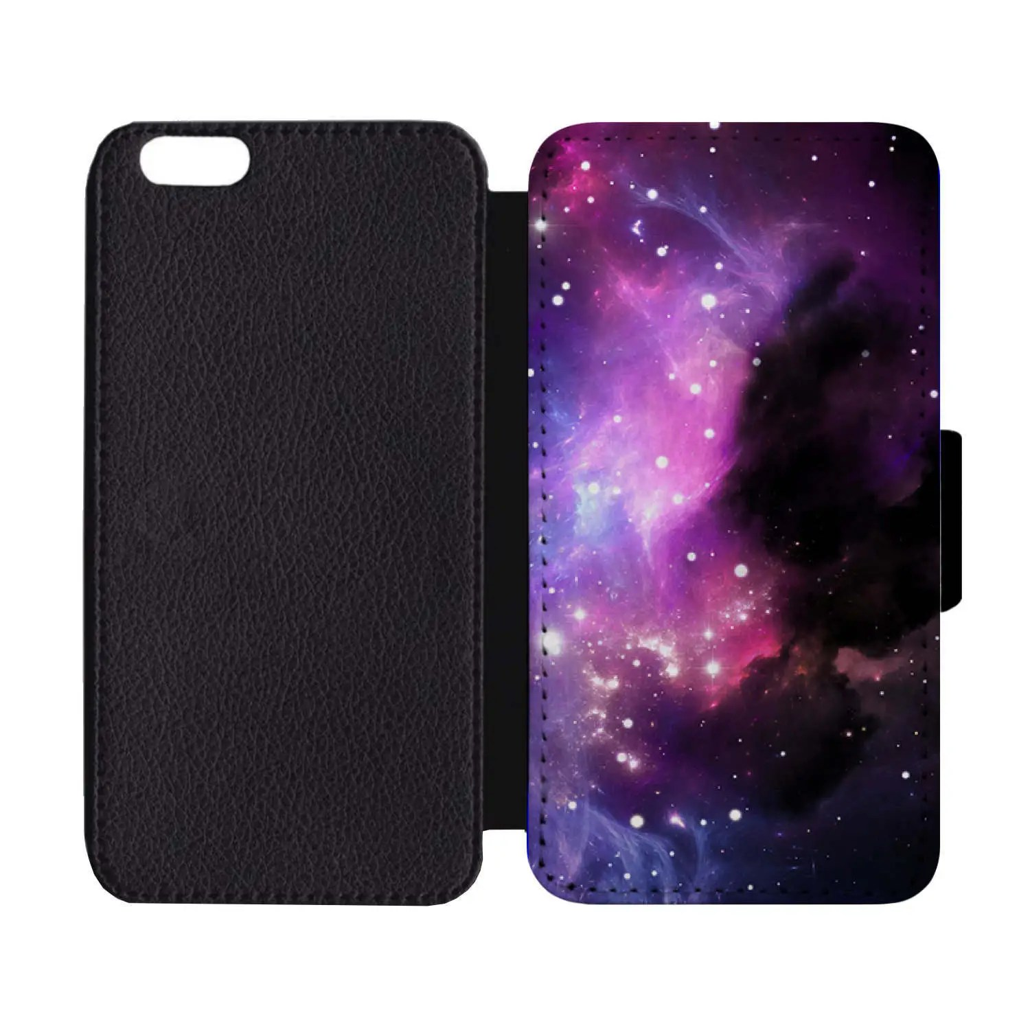 galaxy purple space stars solar system print pattern black leather