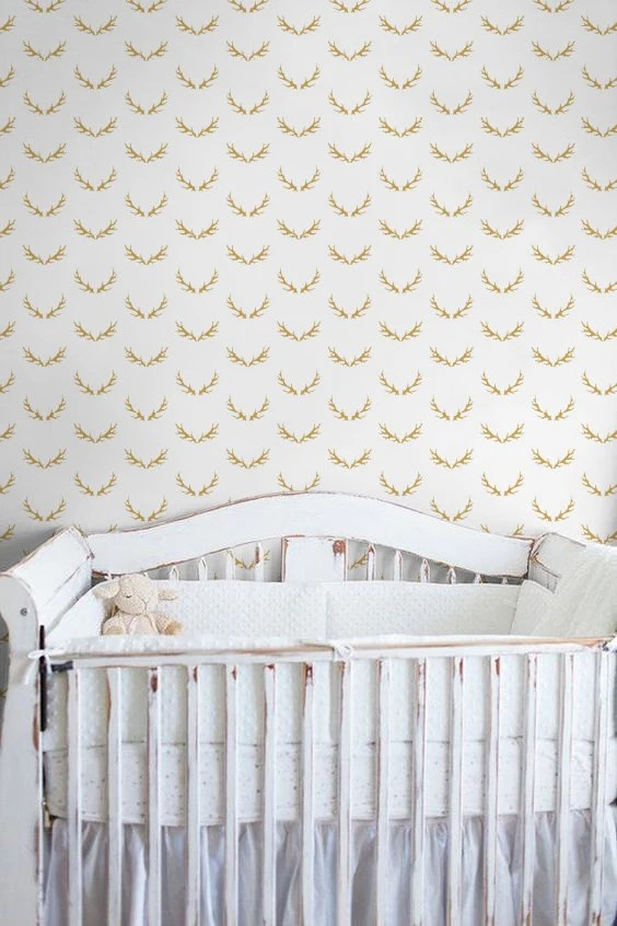 Nursery Wallpaper/ Antlers Removable Wallpaper/ Self-adhesive Wallpaper / Deer Antler Pattern Wall Covering - 142