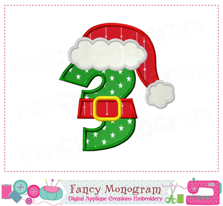 Christmas Santa Claus Number 3 Appliquemy 3rd