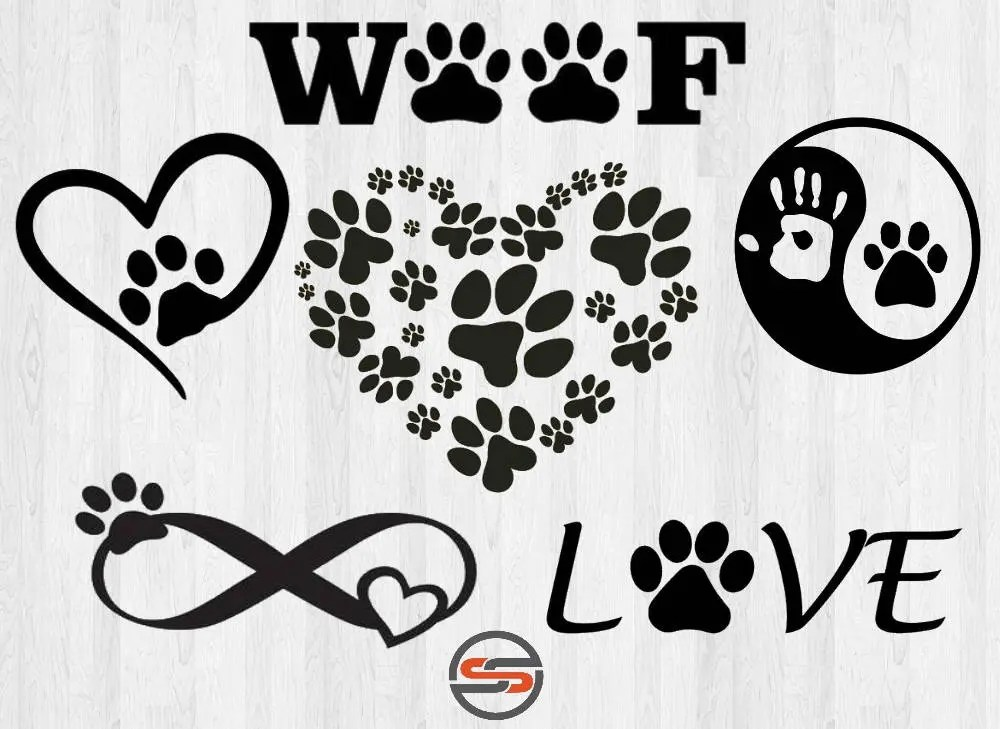 Download Dog Paw SVG Cut File DXF Dogs Pet Love Svg Cutting File
