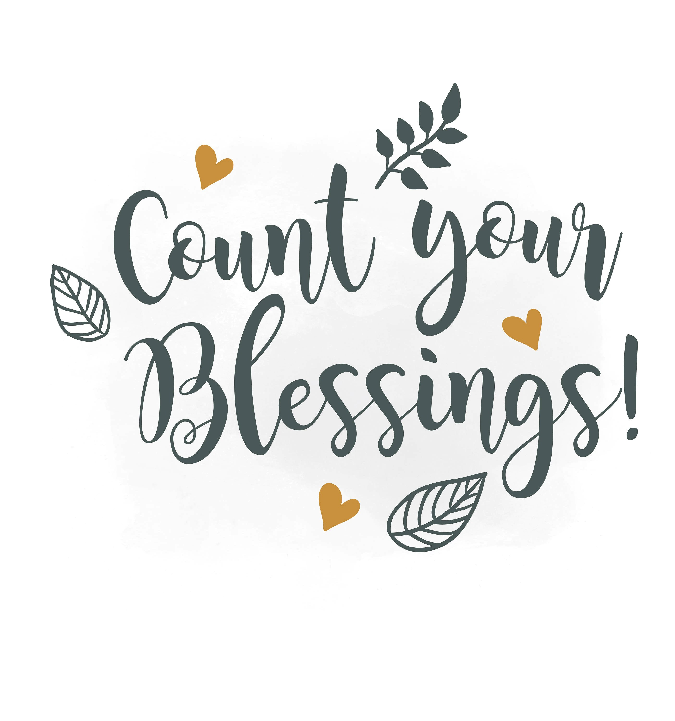 Count Your Blessings Clipart Religious Quote Digital Cut