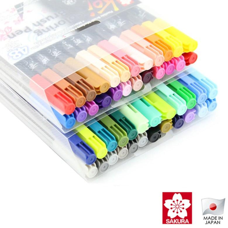 sakura koi coloring brush 48 assorted color pen set | xbr-48