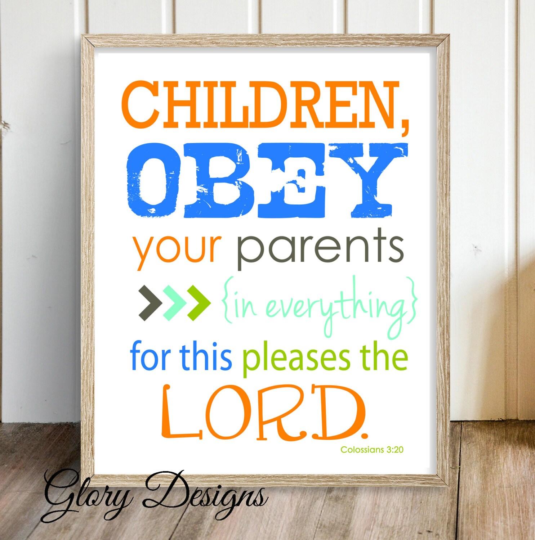 Bible Verse Children Obey Your Parents Scripture Printable