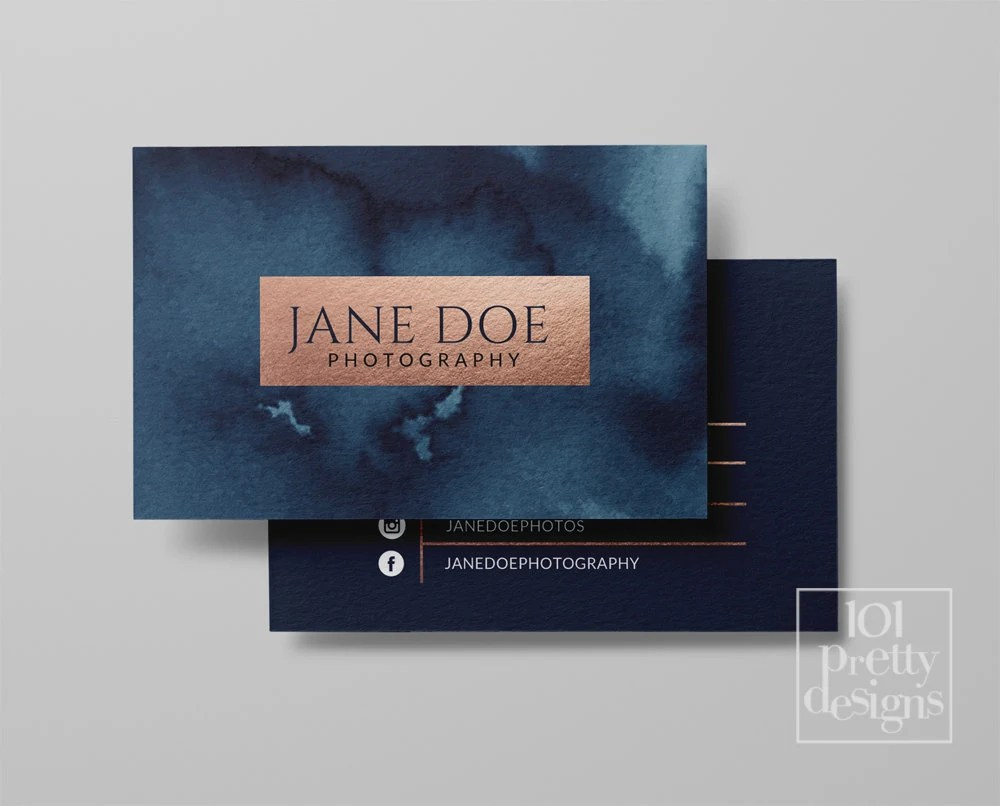Watercolor business card template rose gold printable business card     Il 570xn