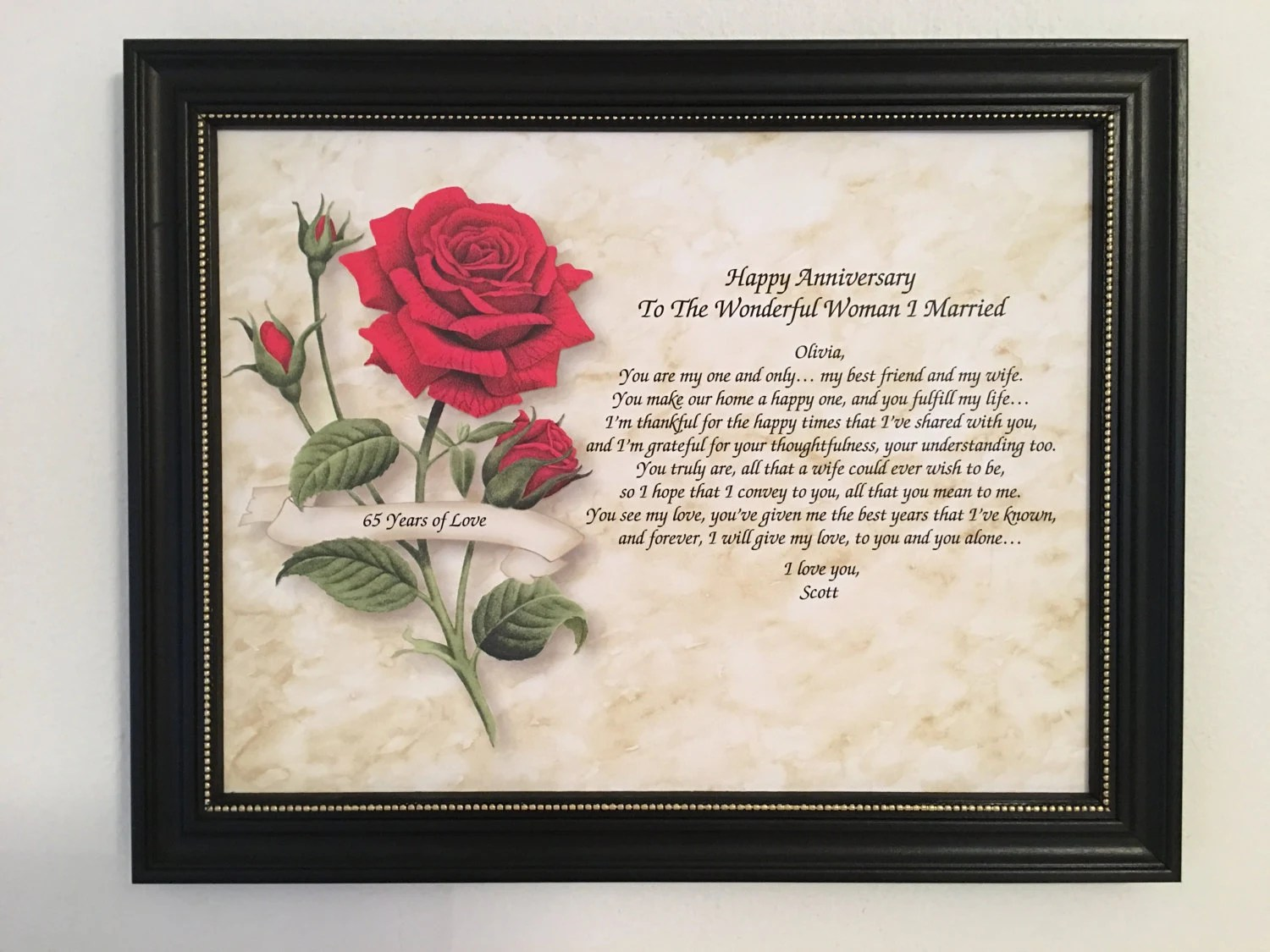 65th Anniversary Gift For Wife Love Poem Personalized