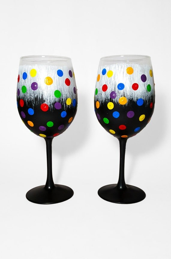 Hand Painted Wine Glasses Rainbow Polka Dot Wine Glasses Set