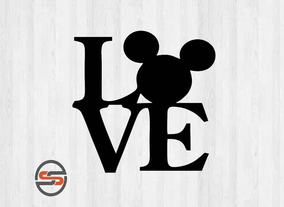 Download Love Disney SVG, Mickey Mouse Ears, Silhouette Digital ...