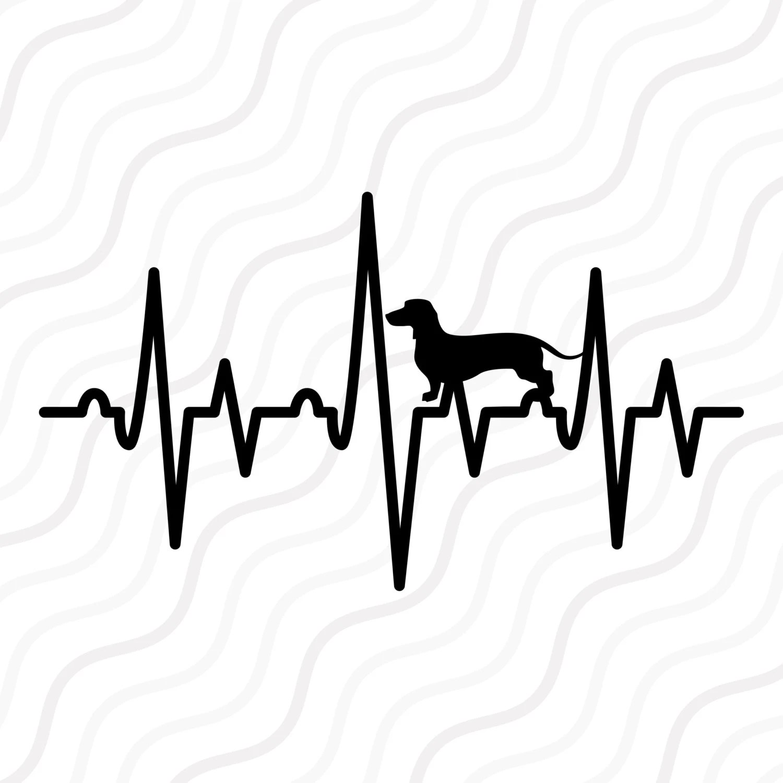 Dachshund Heartbeat Svg Heartbeat Svg Dachshund Svg Cut