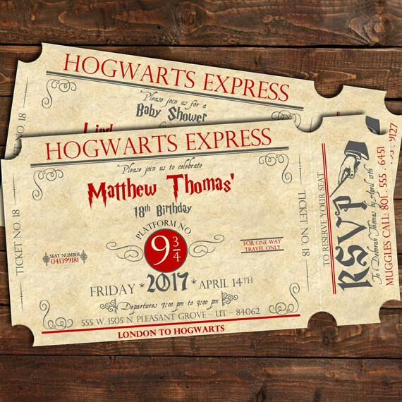 Harry Potter Birthday Train Ticket Invitation, Harry Potter Baby Shower  Invitation, Harry Potter Bridal