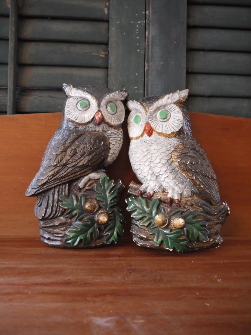 Pair of Vintage Painted Plaster or Chalkware Owl Wall Plaques 1970s, Come with Installed Hooks for Easy Hanging.   1970s