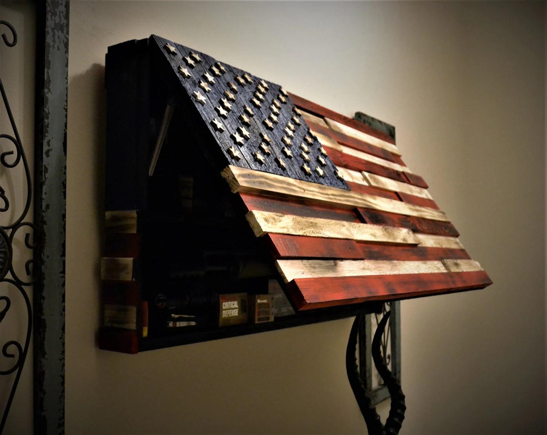 Hidden Gun Case Wooden American Flag RAISED By HiddenTactics
