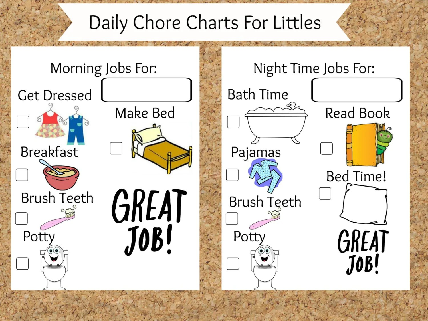 Picture Chore Charts For Toddlers Printable Chore Charts